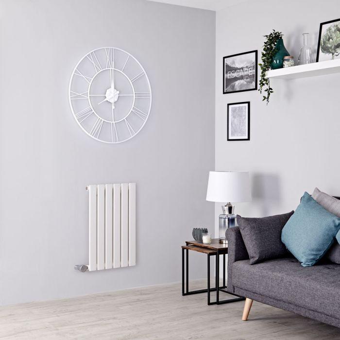 Milano Alpha Electric - White Horizontal Single Slim Panel Designer Radiator 635mm x 420mm