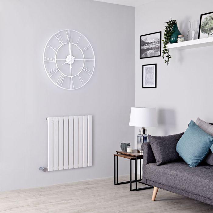 Milano Alpha Electric - White Horizontal Single Slim Panel Designer Radiator 635mm x 630mm
