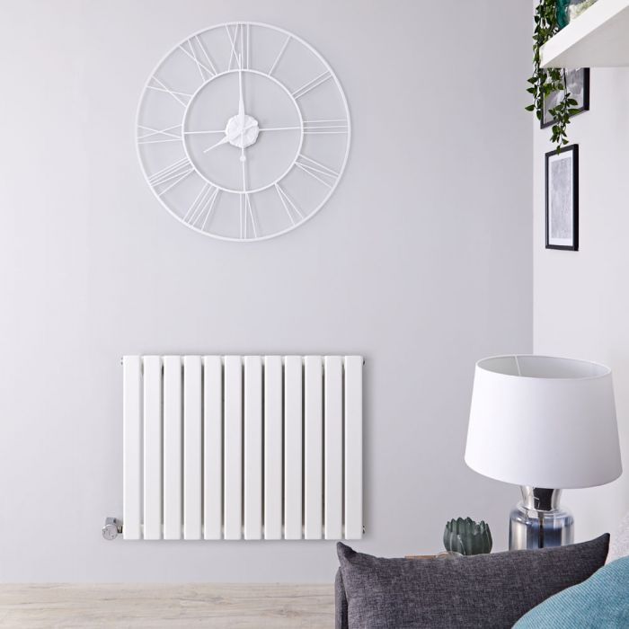 Milano Alpha Electric - White Horizontal Single Slim Panel Designer Radiator 635mm x 840mm