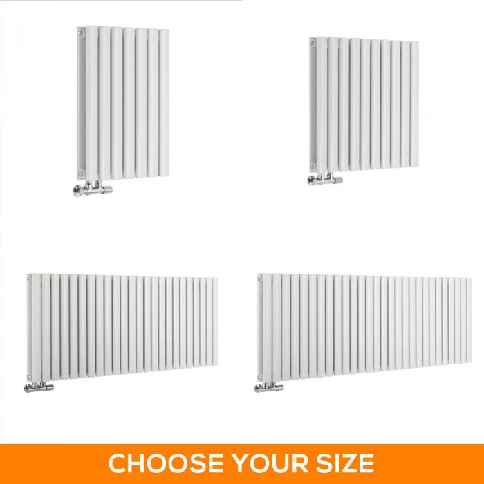 Milano Aruba Flow - 635mm White Horizontal Middle Connection Designer Radiator - Various Sizes