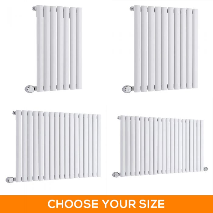 Milano Aruba Electric - White Horizontal Designer Radiator - 635mm Tall - Choice Of Width