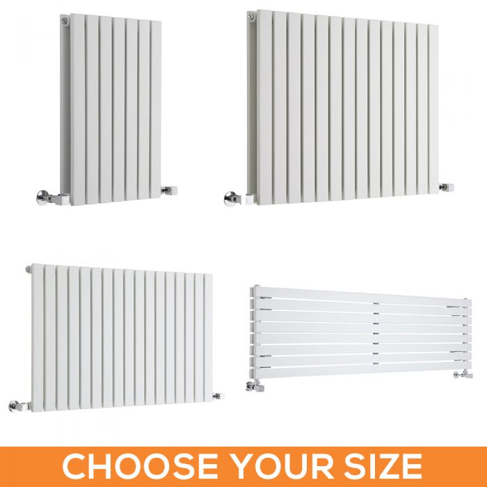 Milano Capri - White Flat Panel Horizontal Designer Radiator - Various Sizes