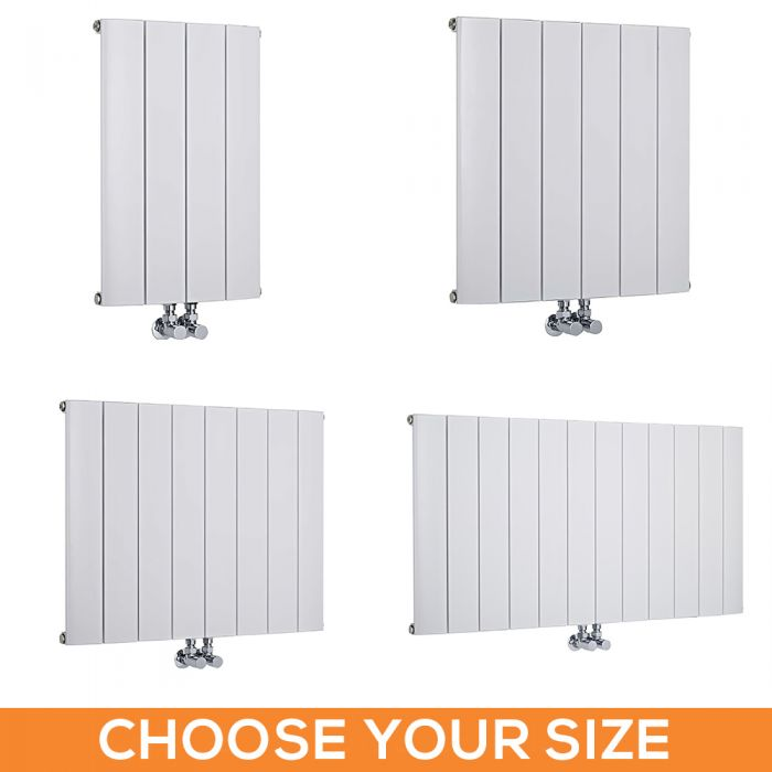 Milano Skye - White Horizontal Aluminium Designer Radiator - 600mm Tall - Choice Of Width