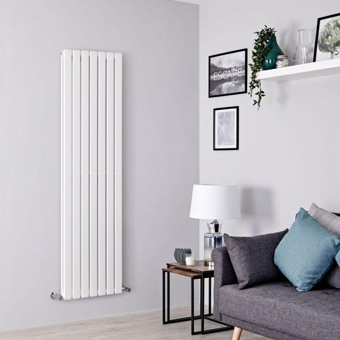 Milano Alpha - White Vertical Double Slim Panel Designer Radiator 1600mm x 490mm