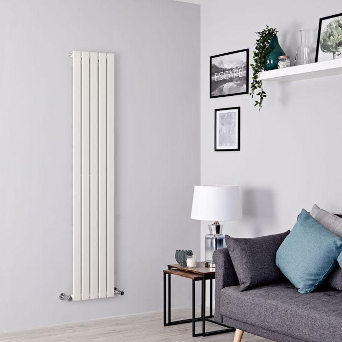 Milano Alpha - White Vertical Single Slim Panel Designer Radiator 1600mm x 350mm