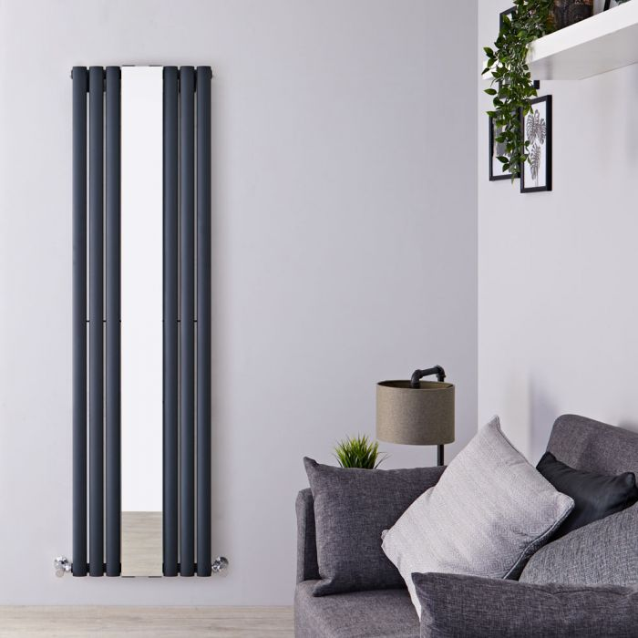 Milano Aruba - Anthracite Vertical Mirrored Designer Radiator 1800mm x 499mm