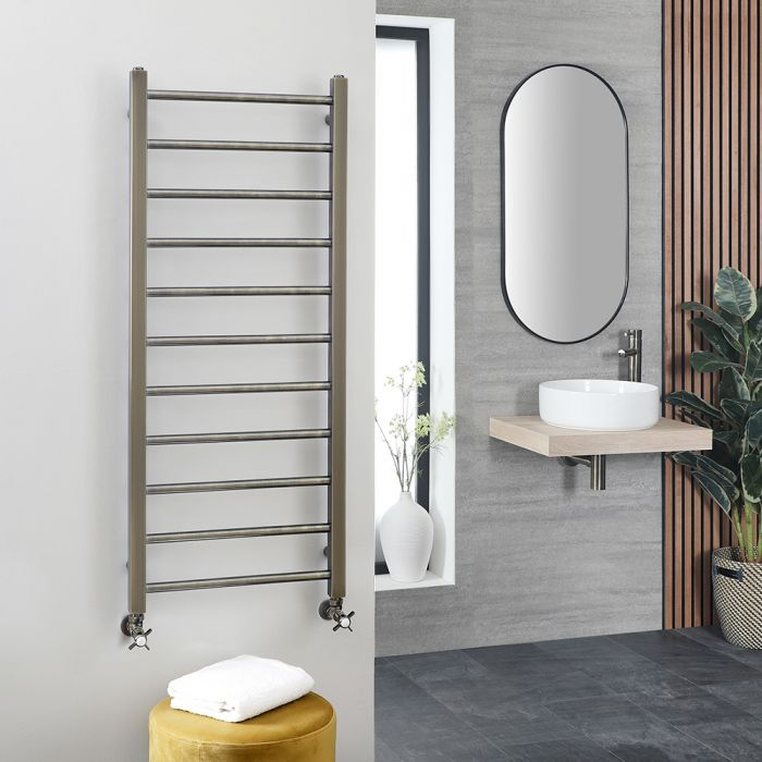 Milano Esk - Brushed Brass Stainless Steel Flat Heated Towel Rail - 1200mm x 500mm
