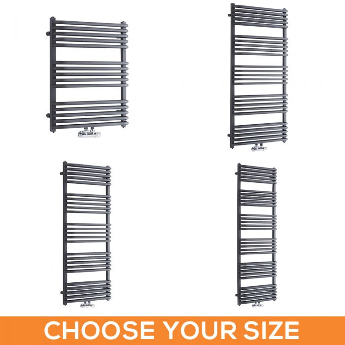 Milano Bow - Anthracite D Bar Heated Towel Rail - Various Sizes