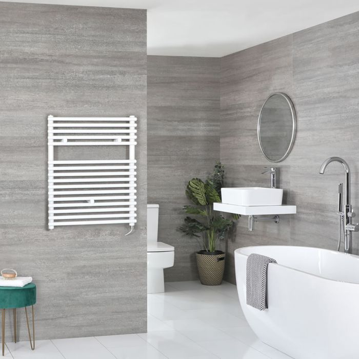 Milano Arno Electric - White Bar on Bar Heated Towel Rail 730mm x 450mm
