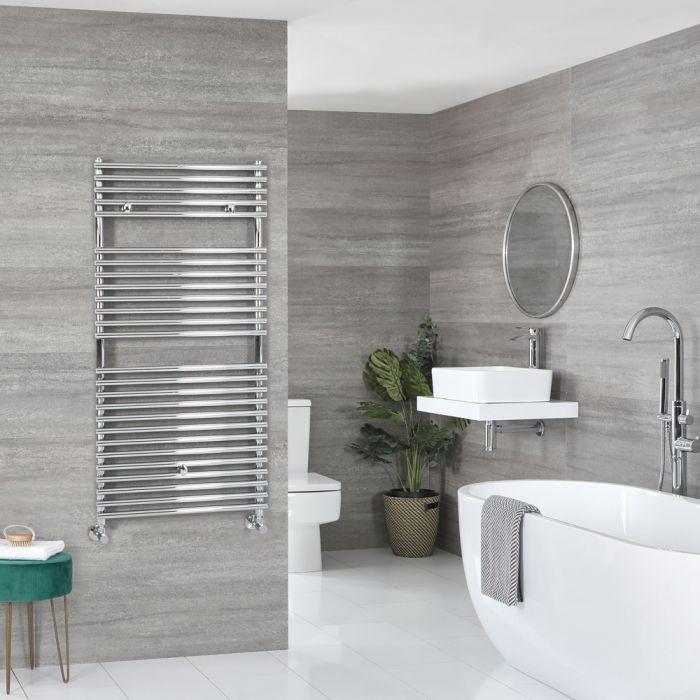 Milano Arno - Bar on Bar Chrome Heated Towel Rail 1190mm x 450mm