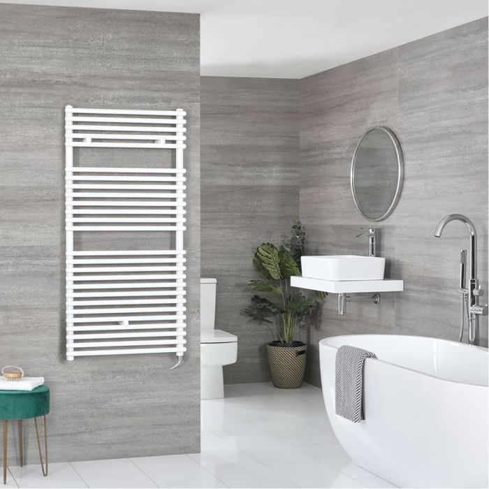 Milano Arno Electric - White Bar on Bar Heated Towel Rail 1190mm x 450mm