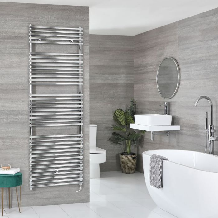 Milano Arno Electric - Chrome Bar on Bar Heated Towel Rail - Various Sizes and Choice of Element