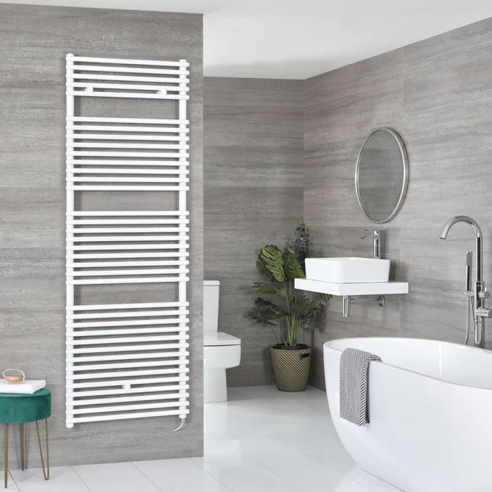Milano Arno Electric - White Bar on Bar Heated Towel Rail - Various Sizes and Choice of Element