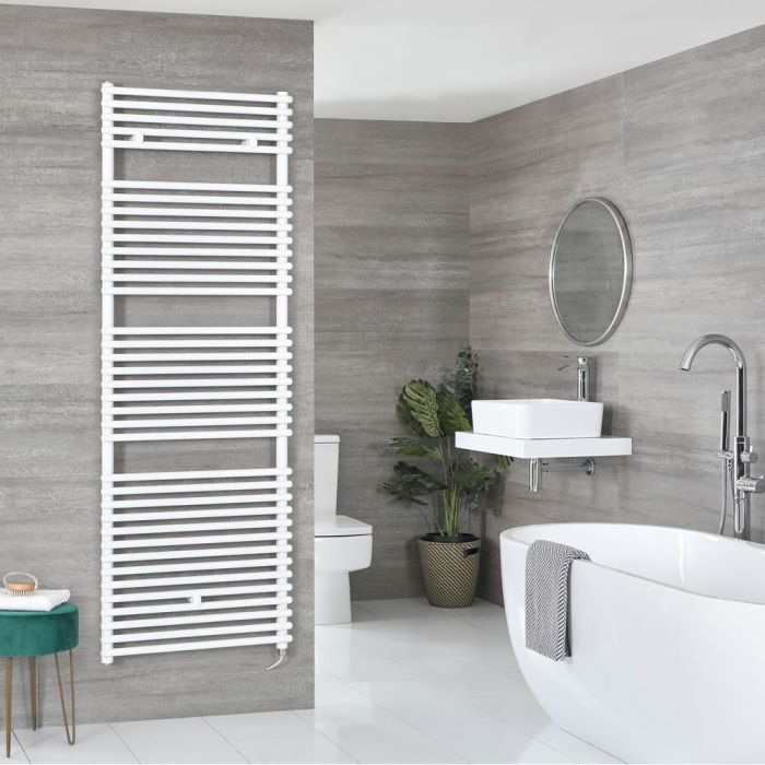 Milano Arno Electric - White Bar on Bar Heated Towel Rail 1738mm x 450mm