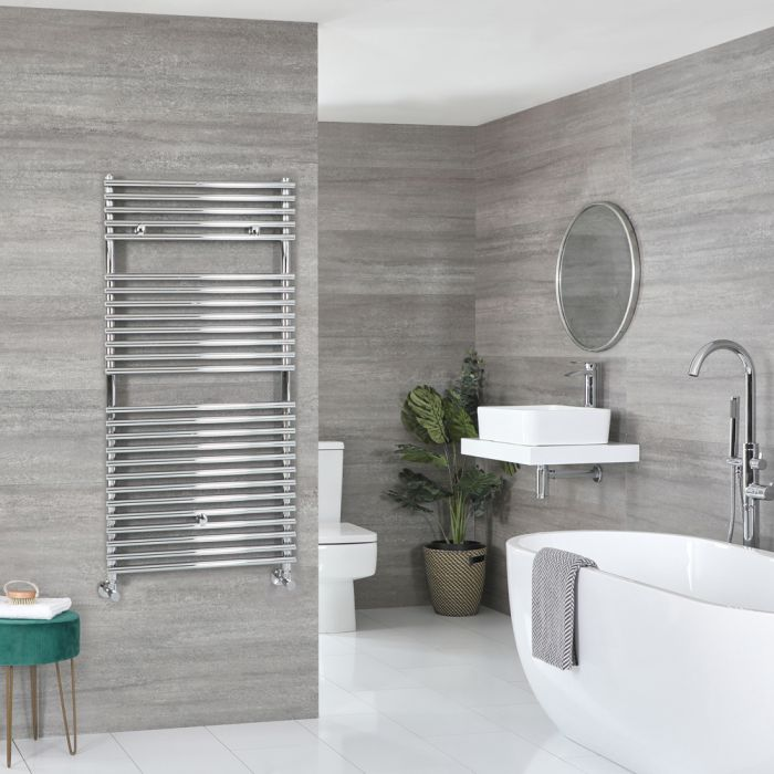 Milano Arno - Bar on Bar Chrome Heated Towel Rail 1190mm x 600mm