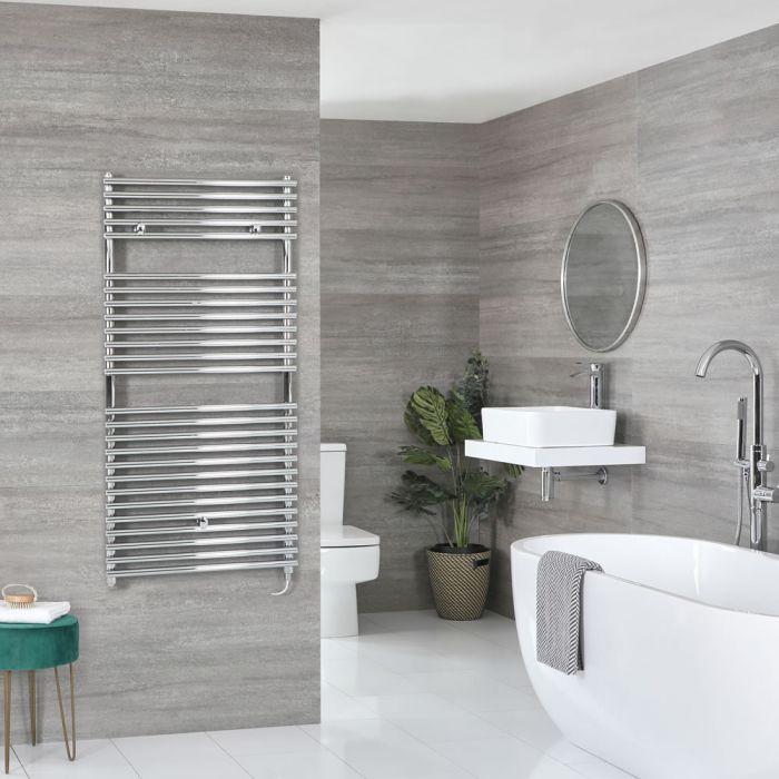Milano Arno Electric - Chrome Bar on Bar Heated Towel Rail 1190mm x 600mm