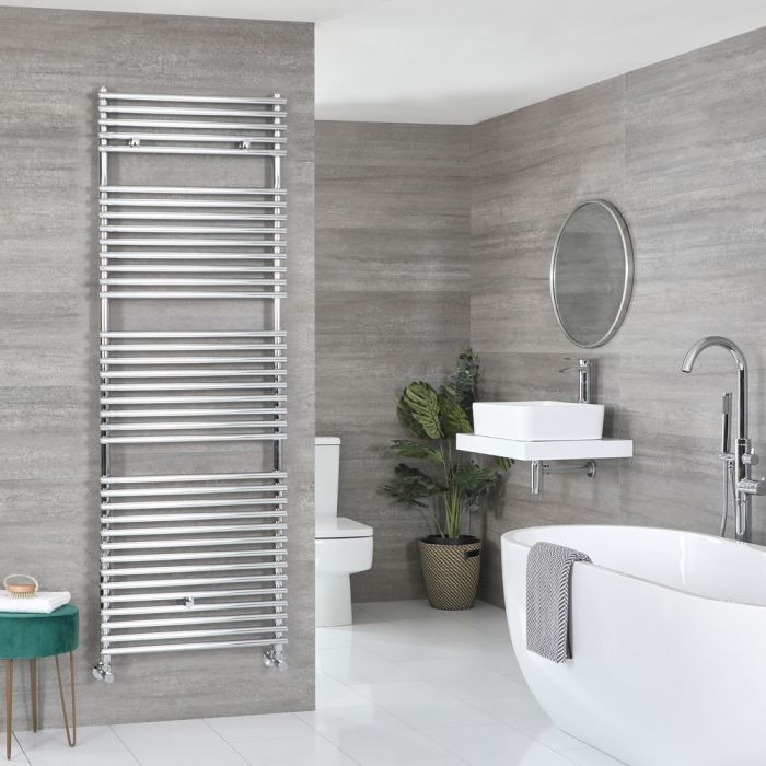 Milano Arno - Bar on Bar Chrome Heated Towel Rail 1738mm x 600mm