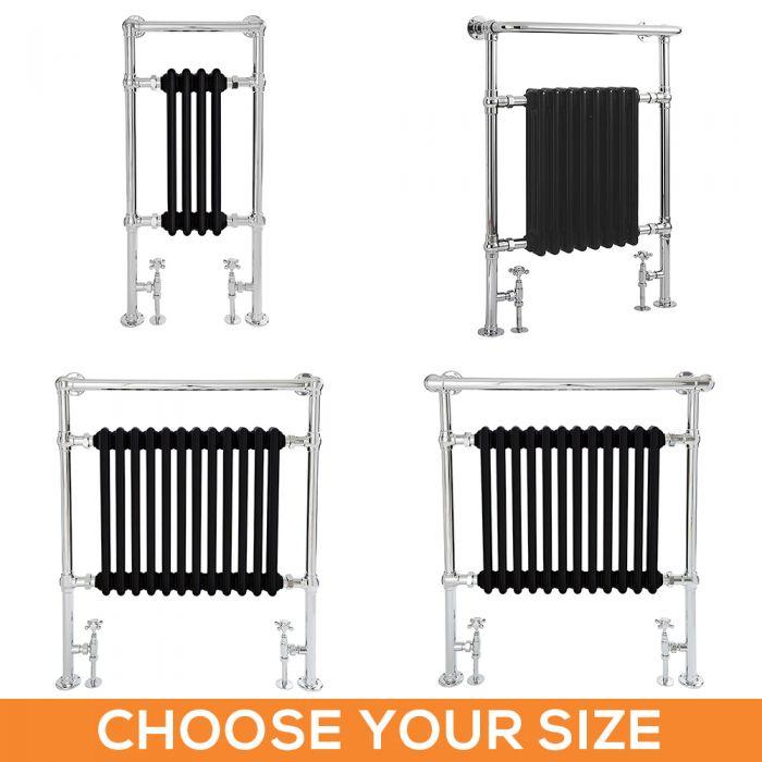 Milano Elizabeth - Black Traditional Heated Towel Rail - Various Sizes