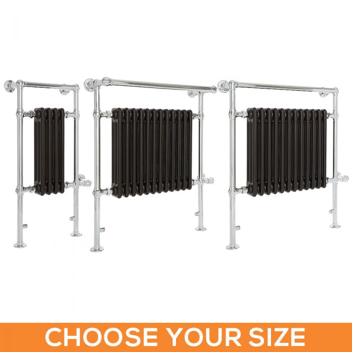 Milano Elizabeth - Black Traditional Electric Heated Towel Rail - Various Sizes