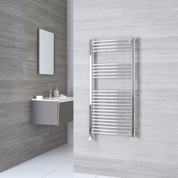 Milano Ribble Electric - Curved Chrome Heated Towel Rail 1200mm x 500mm