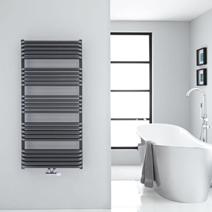 Milano Bow - Anthracite D Bar Central Connection Heated Towel Rail 1269mm x 600mm
