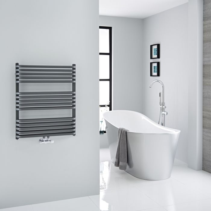 Milano Bow - Anthracite D Bar Central Connection Heated Towel Rail 735mm x 600mm