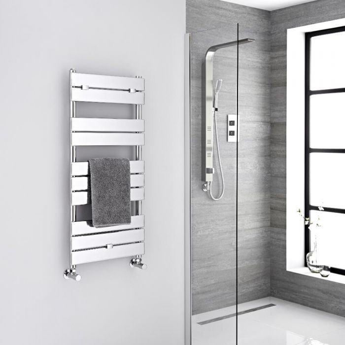 Milano Lustro - Designer Chrome Flat Panel Heated Towel Rail - 1000mm x 450mm