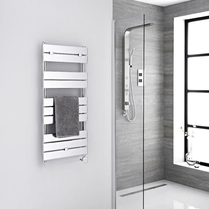 Milano Lustro Electric - Designer Chrome Flat Panel Heated Towel Rail - 1000mm x 450mm