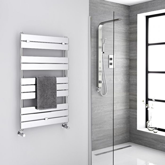 Milano Lustro - Designer Chrome Flat Panel Heated Towel Rail - 1000mm x 600mm