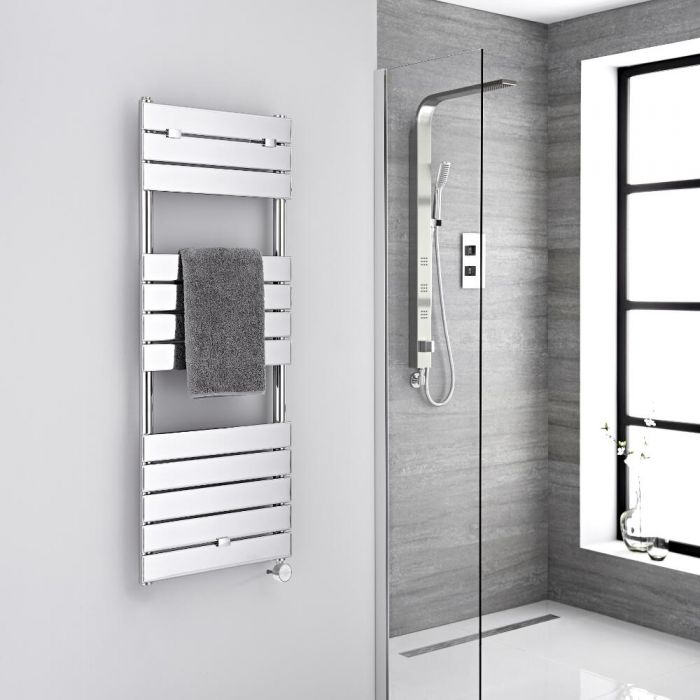Milano Electric Lustro - Designer Chrome Flat Panel Heated Towel Rail - 1213mm x 450mm
