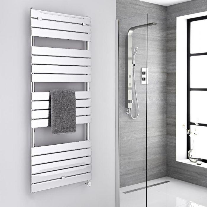 Milano Electric Lustro - Designer Chrome Flat Panel Heated Towel Rail - 1512mm x 600mm