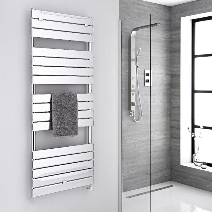 Milano Lustro Electric - Designer Chrome Flat Panel Heated Towel Rail - 1512mm x 600mm