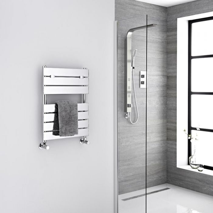 Milano Lustro - Designer Chrome Flat Panel Heated Towel Rail - 620mm x 450mm