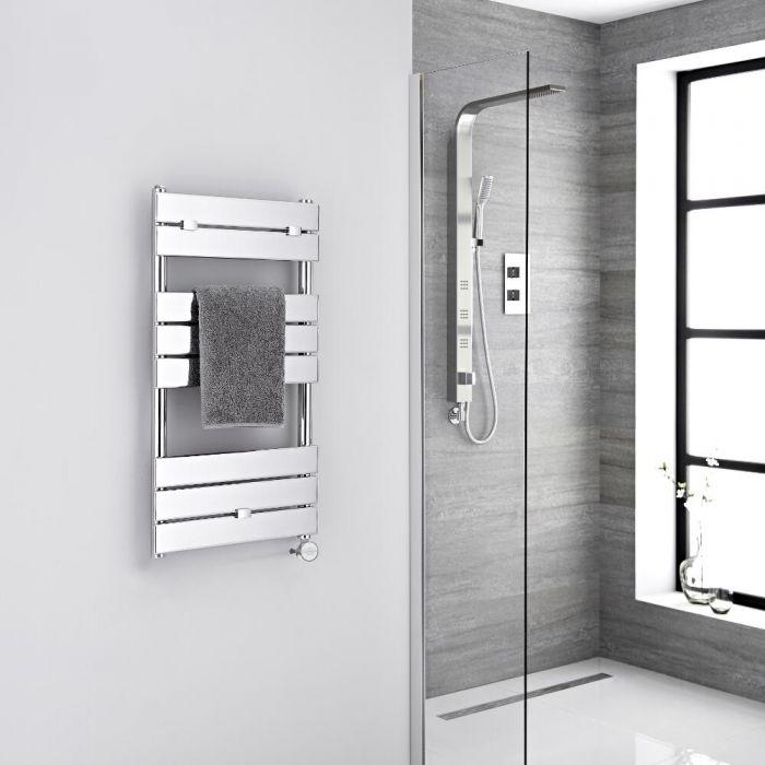 Milano Lustro Electric - Designer Chrome Flat Panel Heated Towel Rail - 840mm x 450mm