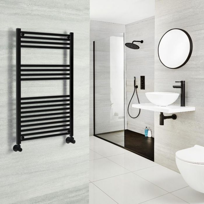 Milano Nero - Black Heated Towel Rail - Various Sizes and Choice of Valves