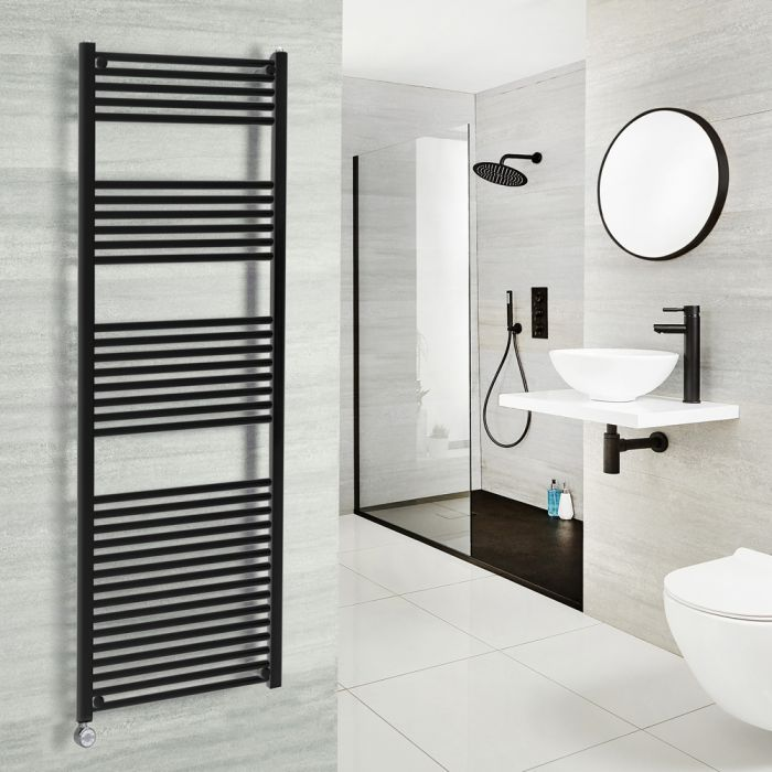 Milano Nero Electric - Black Heated Towel Rail 1500mm x 600mm