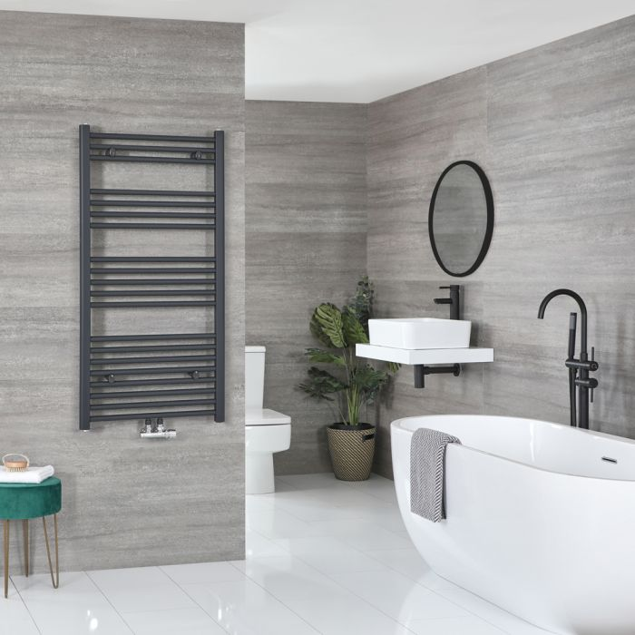 Milano Neva - Anthracite Central Connection Heated Towel Rail 1188mm x 500mm