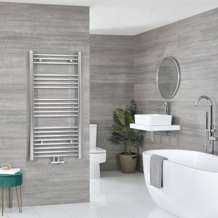 Milano Neva - Chrome Central Connection Heated Towel Rail 1188mm x 500mm
