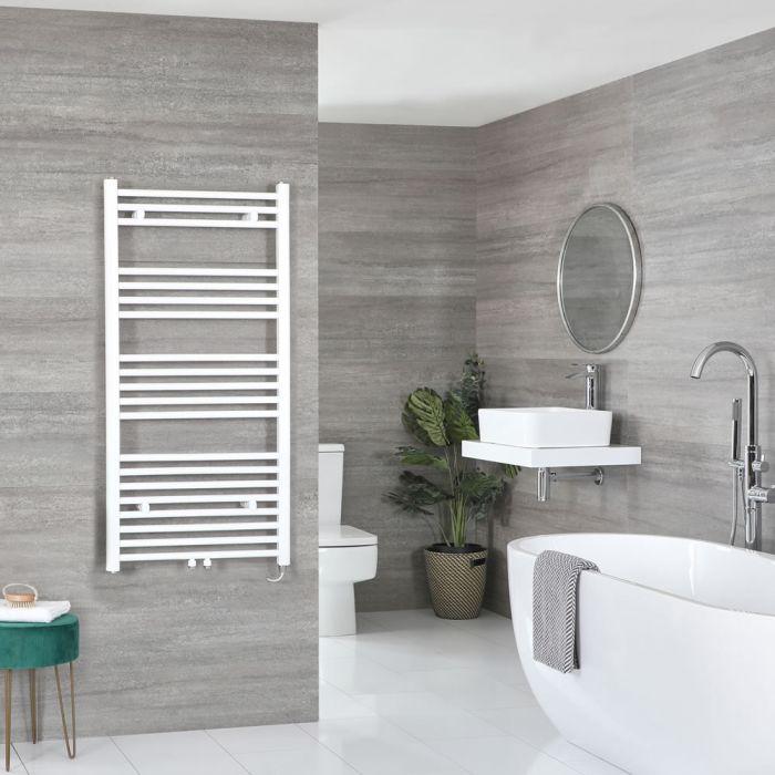 Milano Neva Electric - White Heated Towel Rail 1188mm x 500mm
