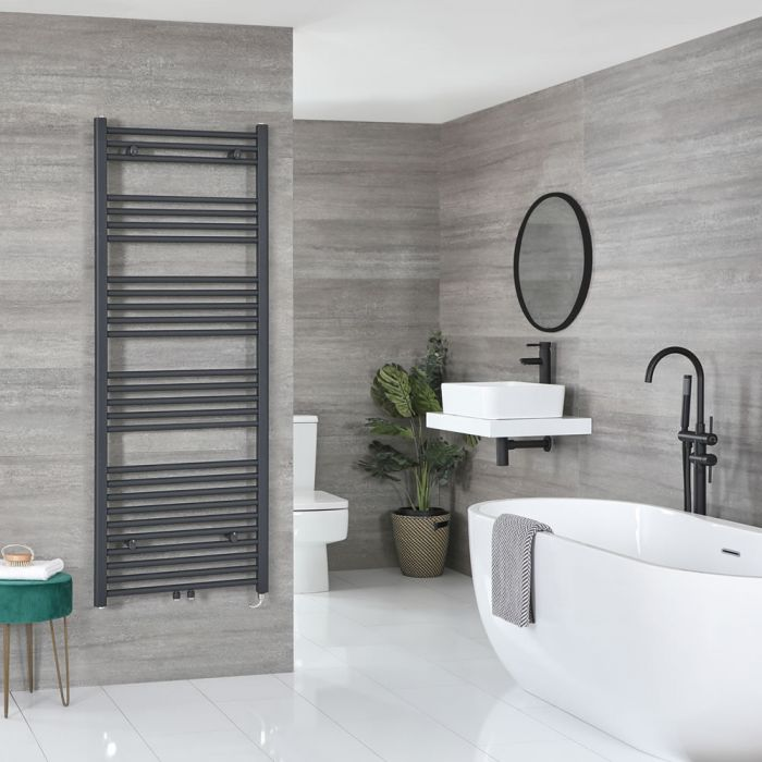 Milano Neva Electric - Anthracite Heated Towel Rail 1600mm x 500mm