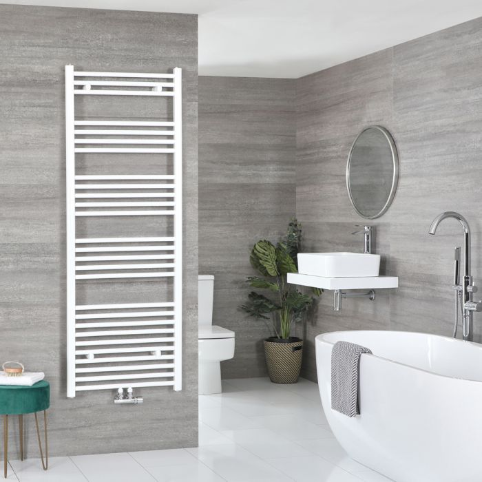 Milano Neva - White Central Connection Heated Towel Rail 1600mm x 500mm