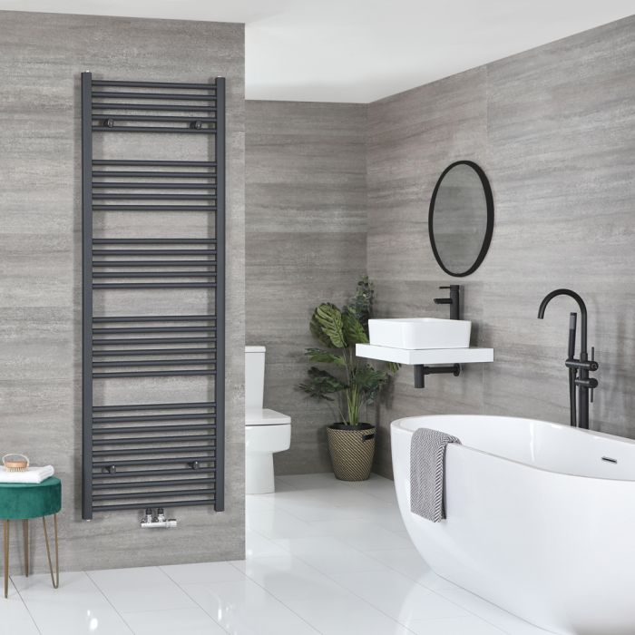 Milano Neva - Anthracite Central Connection Heated Towel Rail 1785mm x 500mm