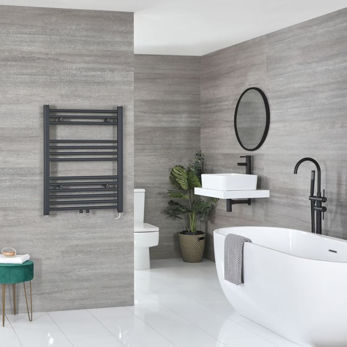 Milano Neva Electric - Anthracite Heated Towel Rail 803mm x 500mm