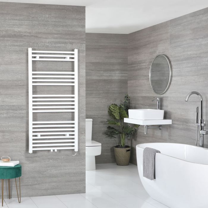Milano Neva Electric - White Heated Towel Rail 1188mm x 600mm