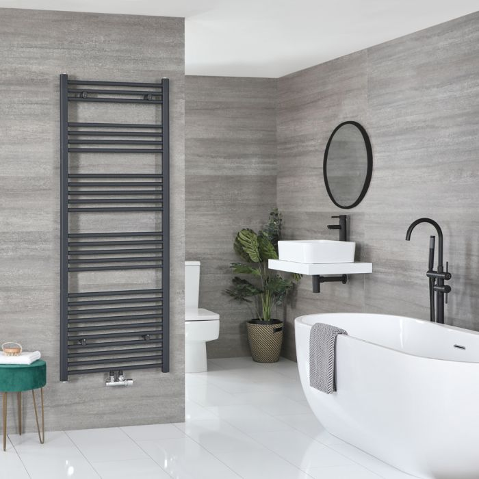 Milano Neva - Anthracite Central Connection Heated Towel Rail 1600mm x 600mm