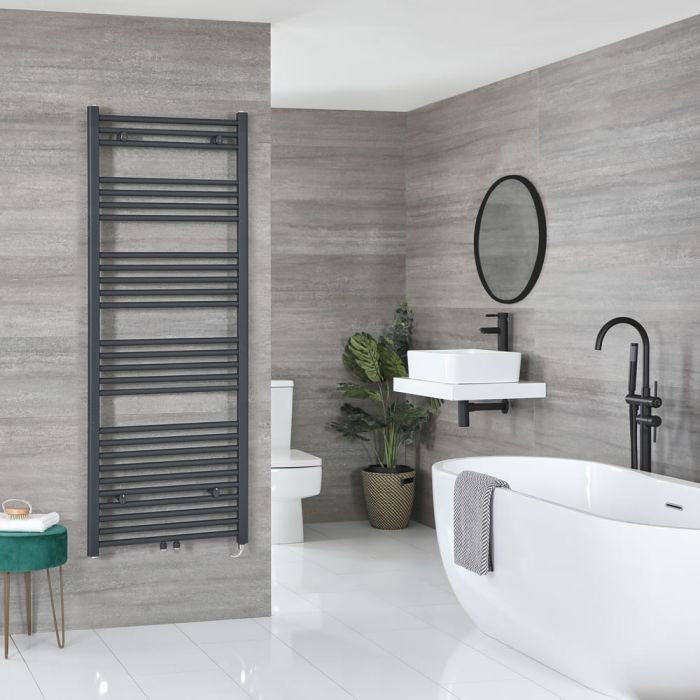 Milano Neva Electric - Anthracite Heated Towel Rail 1600mm x 600mm