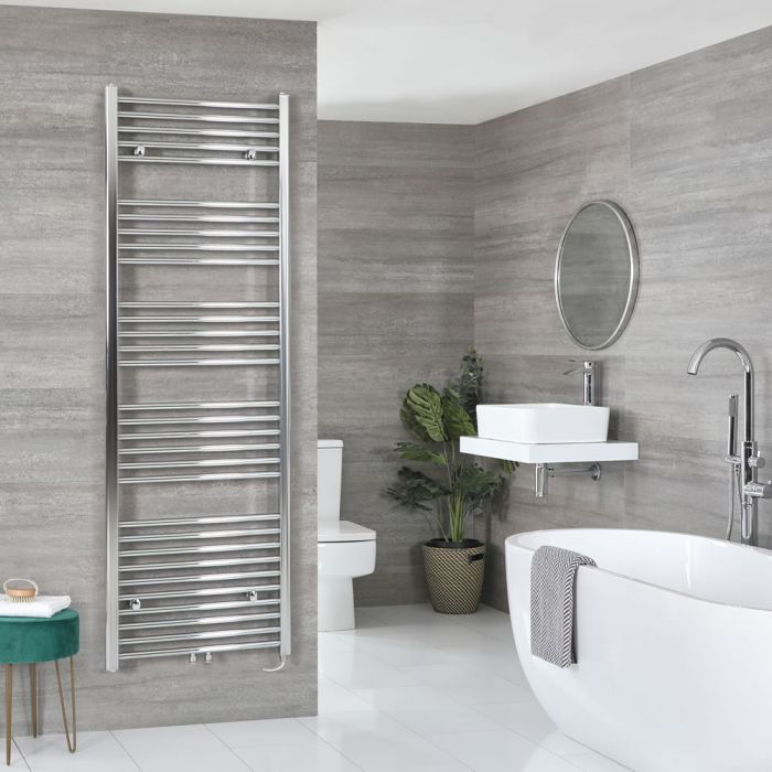 Milano Neva Electric - Chrome Heated Towel Rail 1785mm x 600mm