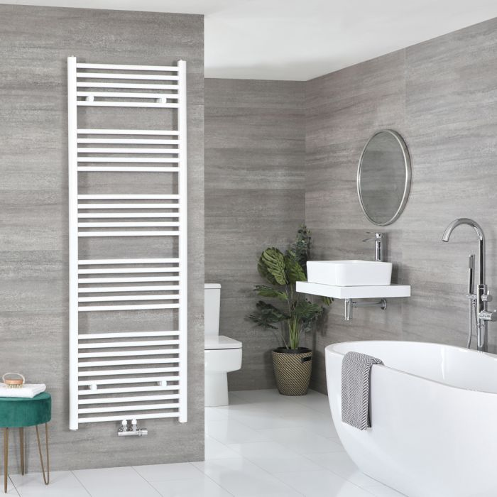 Milano Neva - White Central Connection Heated Towel Rail 1785mm x 600mm