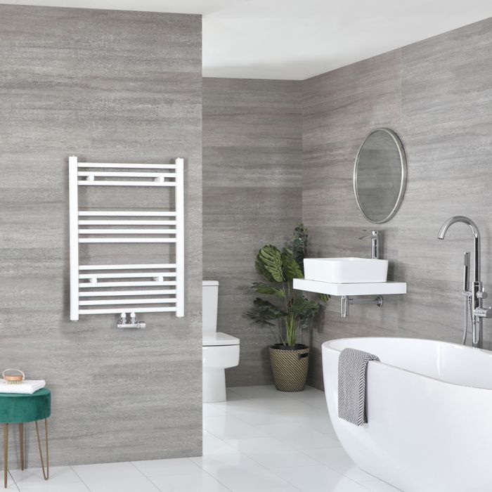 Milano Neva - White Central Connection Heated Towel Rail 803mm x 600mm