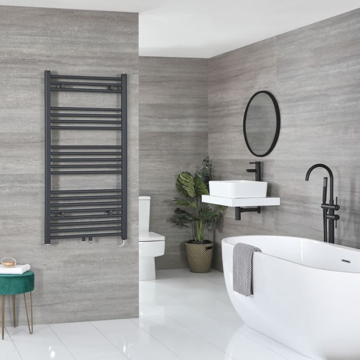 Milano Neva Electric - Anthracite Heated Towel Rail 1188mm x 500mm